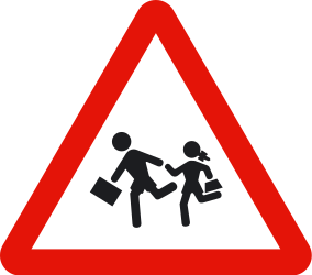 Traffic sign of Spain: Warning for children
