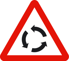 Traffic sign of Spain: Warning for a roundabout