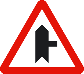 Traffic sign of Spain: Warning for side road on the right