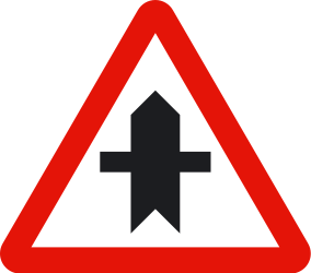Traffic sign of Spain: Warning for a crossroad side roads on the left and right