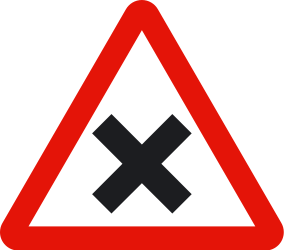 Traffic sign of Spain: Warning for an uncontrolled crossroad