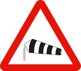 Traffic sign of Spain: Warning for heavy crosswind