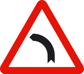 Traffic sign of Spain: Warning for a curve to the left