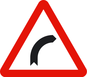 Traffic sign of Spain: Warning for a curve to the right