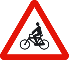 Traffic sign of Spain: Warning for cyclists