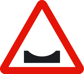 Traffic sign of Spain: Warning for a dip in the road