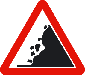 Traffic sign of Spain: Warning for falling rocks