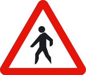 Traffic sign of Spain: Warning for pedestrians