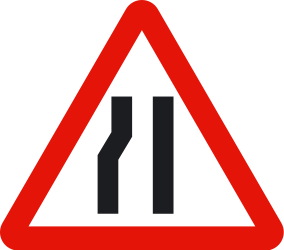Traffic sign of Spain: Warning for a road narrowing on the left
