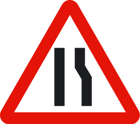 Traffic sign of Spain: Warning for a road narrowing on the right