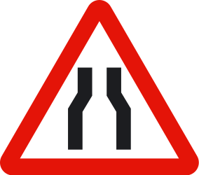Traffic sign of Spain: Warning for a road narrowing