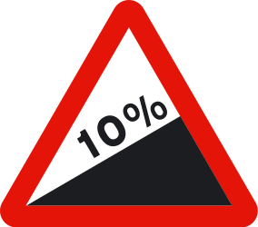 Traffic sign of Spain: Warning for a steep ascent