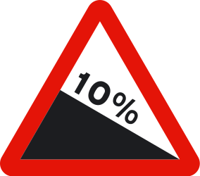 Traffic sign of Spain: Warning for a steep descent