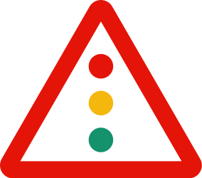 Traffic sign of Spain: Warning for a traffic light