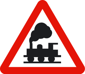 Traffic sign of Spain: Warning for a railroad crossing without barriers
