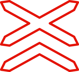 Traffic sign of Spain: Warning for a railroad crossing with more than 1 railway