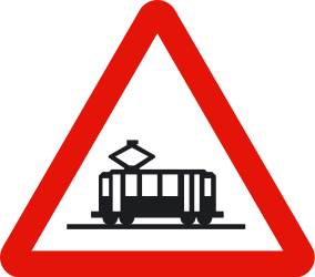 Traffic sign of Spain: Warning for trams
