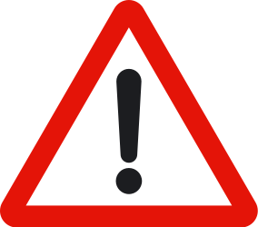 Traffic sign of Spain: Warning for a danger with no specific traffic sign