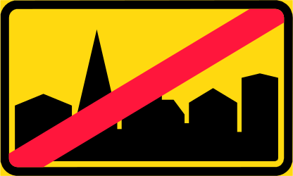 Traffic sign of Finland: End of the built-up area