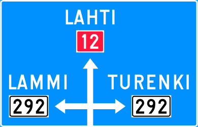 Traffic sign of Finland: Information about the directions of the crossroad