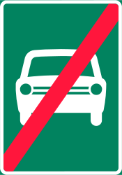 Traffic sign of Finland: End of the expressway
