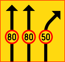Traffic sign of Finland: Maximum speed of a lane