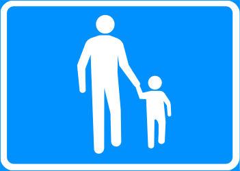 Traffic sign of Finland: Begin of a zone for pedestrians