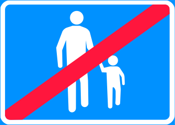 Traffic sign of Finland: End of the zone for pedestrians