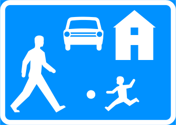 Traffic sign of Finland: Begin of a residential area