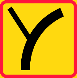 Traffic sign of Finland: Curve of the main road