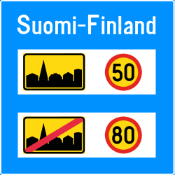 Traffic sign of Finland: National speed limits