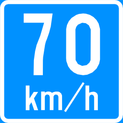 Traffic sign of Finland: Recommended speed