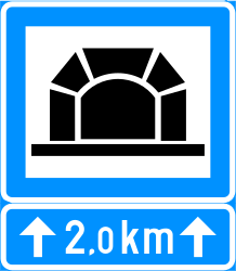 Traffic sign of Finland: Begin of a tunnel