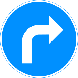 Traffic sign of Finland: Turning right mandatory