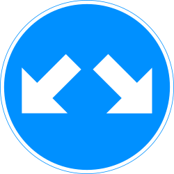 Traffic sign of Finland: Passing left or right mandatory