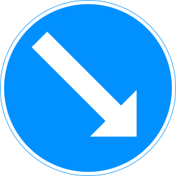 Traffic sign of Finland: Passing right mandatory
