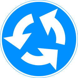 Traffic sign of Finland: Mandatory direction of the roundabout