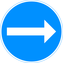 Traffic sign of Finland: Mandatory right