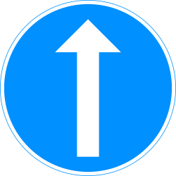 Traffic sign of Finland: Driving straight ahead mandatory