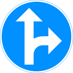 Traffic sign of Finland: Driving straight ahead or turning right mandatory