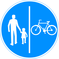 Traffic sign of Finland: Mandatory divided path for pedestrians and cyclists