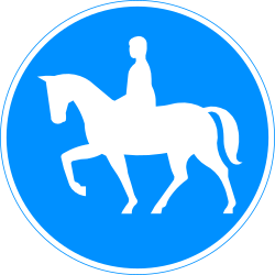 Traffic sign of Finland: Mandatory path for equestrians
