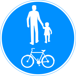 Traffic sign of Finland: Mandatory shared path for pedestrians and cyclists