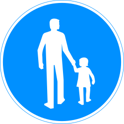 Traffic sign of Finland: Mandatory path for pedestrians