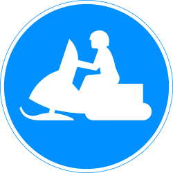 Traffic sign of Finland: Mandatory path for snowmobiles