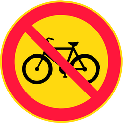 Traffic sign of Finland: Cyclists prohibited