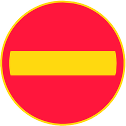 Traffic sign of Finland: Entry prohibited (road with one-way traffic)