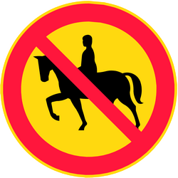 Traffic sign of Finland: Equestrians prohibited