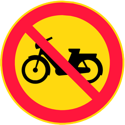 Traffic sign of Finland: Mopeds prohibited