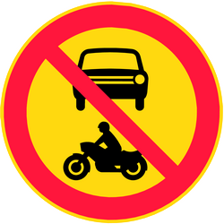 Traffic sign of Finland: Motorcycles and cars prohibited